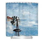 Windmill And Clouds Shower Curtain