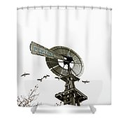 Windmill And Geese Shower Curtain