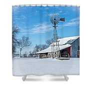 Windmill And Old Barn In Fresh Snow Shower Curtain
