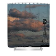 Windmill And Tank At Dusk Shower Curtain