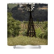 Windmill And Vineyards Shower Curtain