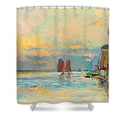 Windmill At A Channel In Rotterdam Shower Curtain