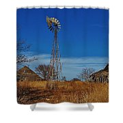Windmill At An Old Farm In Kansas Shower Curtain