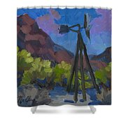 Windmill At Keys Ranch Joshua Tree Shower Curtain