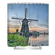 Windmill At Kinderdijk Shower Curtain