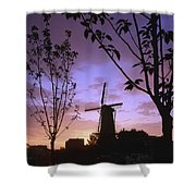 Windmill At Sunset Shower Curtain