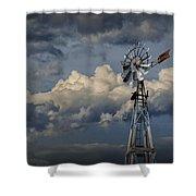 Windmill Energy On Old Prairie Farm Shower Curtain