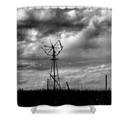 Windmill Foreground A Dramatic Sky Baw Shower Curtain