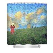 Windmill Girl Shower Curtain