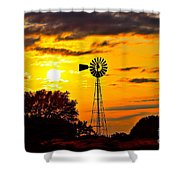 Windmill In Texas Sunset Shower Curtain
