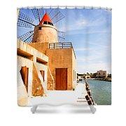 Windmill On Canal - Trapani Salt Flats Shower Curtain
