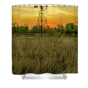 Windmill On The Prairie Shower Curtain