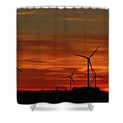 Windmill Sunrise Shower Curtain