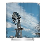 Windmill With White Wood Base Shower Curtain