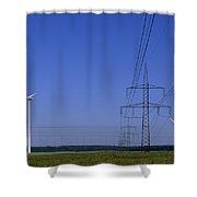 Windmills And High Voltage Transmission Shower Curtain