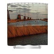 Windmills In The Evening Sun Shower Curtain