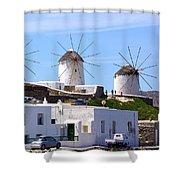 Windmills Mykonos Shower Curtain