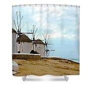 Windmills Of Mykonos I Shower Curtain