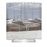 Windmils In Snow Shower Curtain