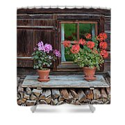 Window And Geraniums Shower Curtain by Yair Karelic