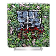 Window Flower Box Shower Curtain