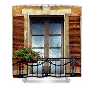 Window Shutters And Flowers I Shower Curtain