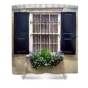 Window Shutters And Flowers II Shower Curtain