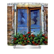 Window Shutters And Flowers IIi Shower Curtain