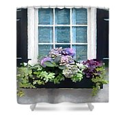 Window Shutters And Flowers Vi Shower Curtain