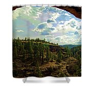 Window View From Inside Gila Cliff Dwellings Shower Curtain
