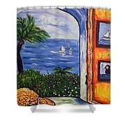 Window With Coral Shower Curtain