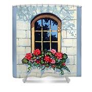 Window With Flower Box Shower Curtain