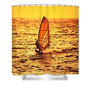 Windsurfer At Sunset Shower Curtain