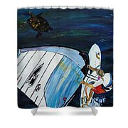 Windsurfing And Sea Turtle Shower Curtain
