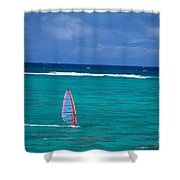 Windsurfing In Clear Ocea Shower Curtain