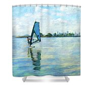 Windsurfing In The Bay Shower Curtain