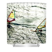 Windsurfing Silver Waters Shower Curtain