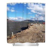 Windswept Cobb - Lyme Regis Shower Curtain