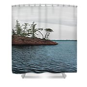 Windswept Island Georgian Bay Shower Curtain