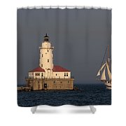 Windy And The Chicago Harbor Light - D009820 Shower Curtain