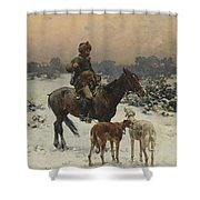 Windy Day By Alfred Wierusz-kowalski Shower Curtain