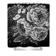 Windy Flowers Black And White Shower Curtain