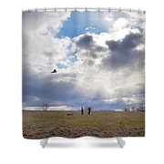 Windy Kite Day Shower Curtain by Bill Cannon