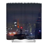 Windy Night Lights Abstract Shower Curtain