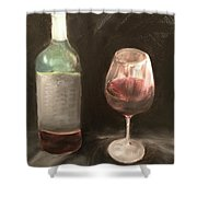 Wine Bottle And Glass Shower Curtain