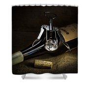 Wine Bottle, Corkscrew And Cork Shower Curtain