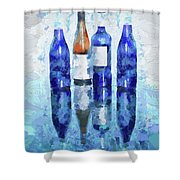 Wine Bottles Reflection  Shower Curtain