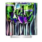 Wine Glasses With Colorful Drinks  Shower Curtain