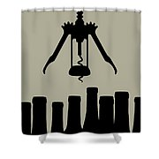 Wine Graphic Silhouette Shower Curtain