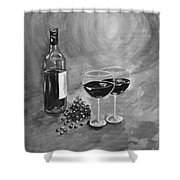 Wine On My Canvas - Black And White - Wine For Two Shower Curtain
